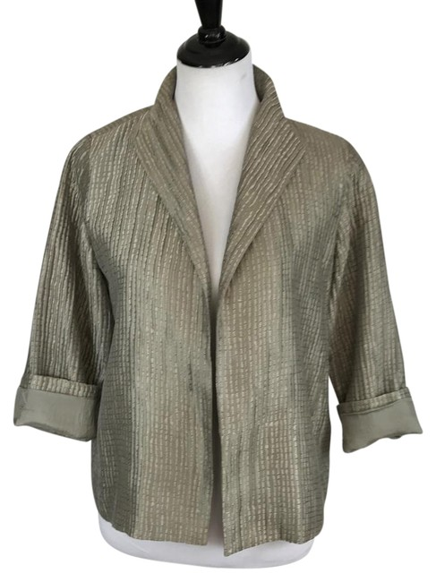 Item - Silver Gray Groove Textured Silk Jacket Size Petite 6 (S)