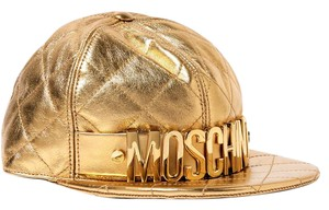 Moschino Small Embellished metallic quilted leather cap 51f1ec75baa