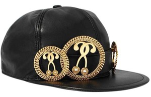 Moschino Large Embellished leather cap