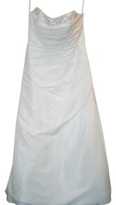 Alfred Angelo Diamond White Satin 2180cw Modern Wedding Dress Size 16 (XL, Plus 0x)