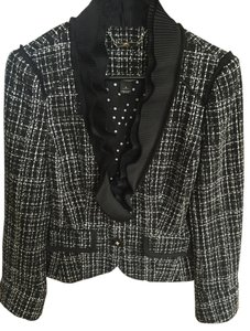White House | Black Market Tweed Classic Jacket Channel Black and white Blazer