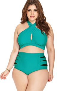 Forever 21 Forever 21+ Plus Teal Green Halter Bold high-waisted Cutout Bikini Set Swimsuit 2X