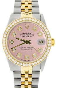 Rolex Rolex Datejust Gold/Steel 31mm Womens w/Pink Dial & Diamond Bezel