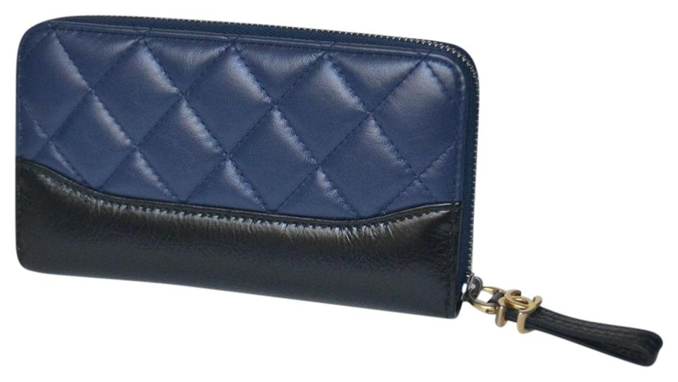420d157d89fd8b Chanel Blue/Black Gabrielle New Quilted Zip Around Wallet - Tradesy