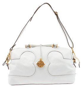 Tory Burch Amalie Leather Satchel in White