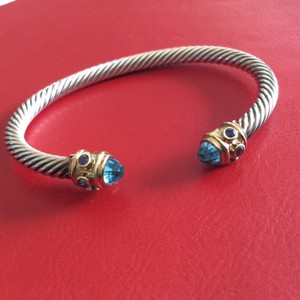 David Yurman Renaissance Cable Bracelet With Blue Topaz and 14K Yellow Gold