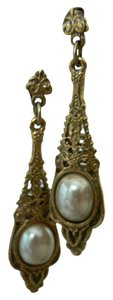 Unknown Gold Pearl Dangle Earings