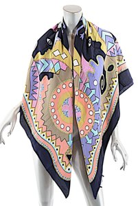 Louis Feraud LOUIS FERAUD Set SILK Oversized Shawl Scarf Wrap Multi Color Fun Happy