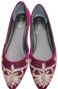 Barneys New York Current Style Box Ballet Velvet Burgundy Flats