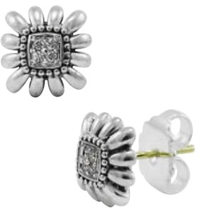 Lagos LAGOS Pret-A-Porter Pave Diamond Sterling Silver Square Stud Earrings