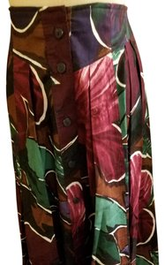 Escada Cotton Buttoned Up Front Maxi Skirt purple/brown/green floral print