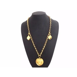 Chanel Auth CHANEL CC Logo Pendant Vintage Long Chain Necklace