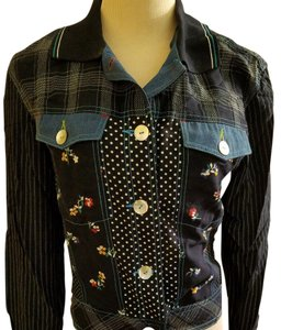 Carole Little Cotton Vest & Shirt Patchwork Print Twin Set Top Blues