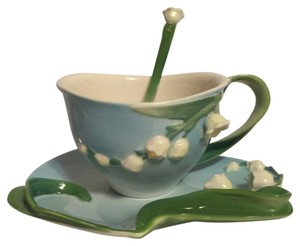 Other Porcelain Tea Set; Garden Party by Two's Company; Lily of the Valley Teacup, Saucer & Spoon [ Roxanne Anjou Closet ]