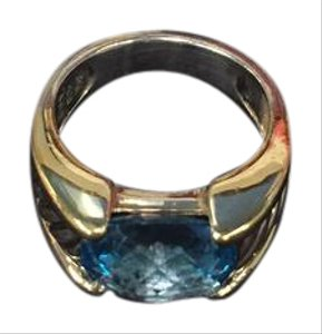 David Yurman David Yurman Silver/Gold Blue Topaz Ring