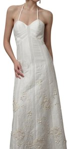 BHLDN Ivory Linen and Silk Greenhouse Gala Gown Casual Wedding Dress Size 2 (XS)