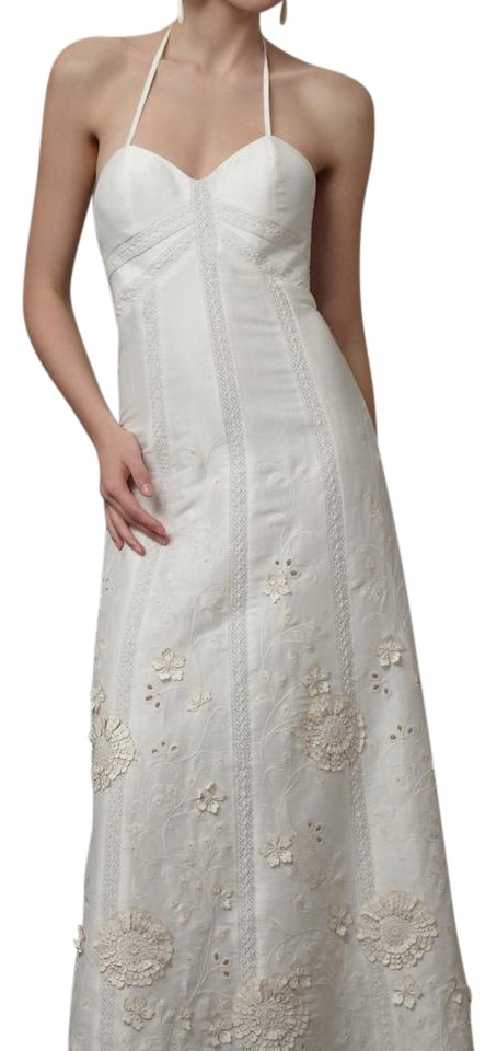 Bhldn Ivory Linen And Silk Greenhouse Gala Gown Casual Wedding Dress