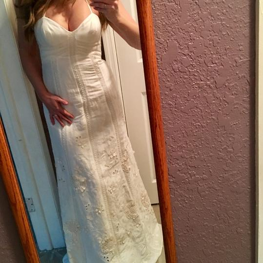 BHLDN Ivory Linen and Silk Greenhouse Gala Gown Casual Wedding Dress Size 2 (XS) Image 11