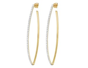 Jewelry Unlimited 14K Yellow Gold Diamond One Row Designer Hoop Earrings 1 Ct 2.3""