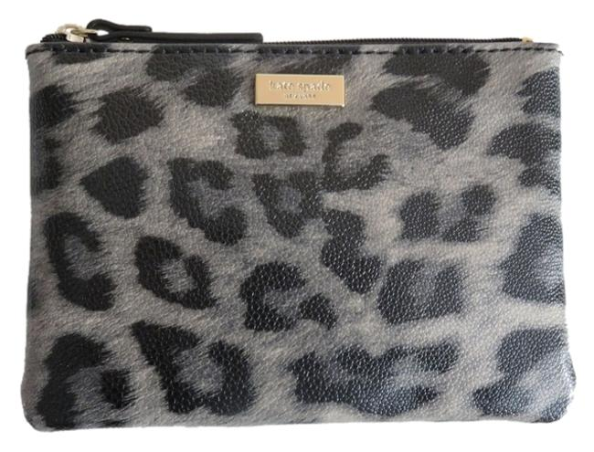 Item - Grant St. and Leopard Mini Pouch Cosmetics Accessories Black Gray Faux Leather Wristlet