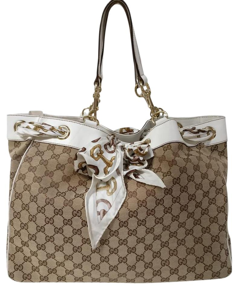 8bc0715290c Gucci Positano Scarf Gg Off White Tote Beige Canvas Shoulder Bag ...