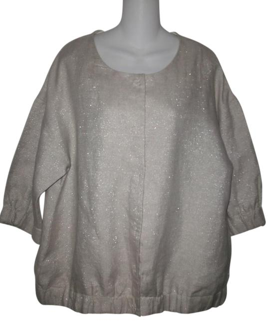Item - Tan Scoop Neck 3/4 Sleeve Iridescent Snap Button Front Jacket Size 12 (L)