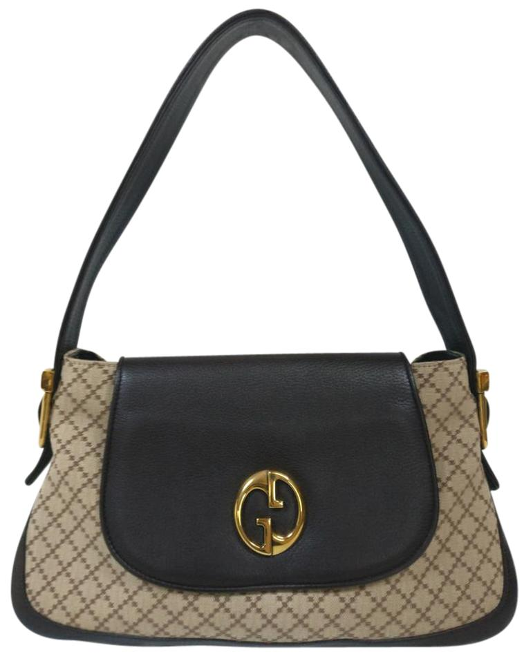04770cbe19d08d Gucci Diamante with Brown Leather Beige Canvas Shoulder Bag - Tradesy