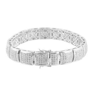 Master Of Bling Kite Link Design Bracelet Mens Lab Diamonds White Rhodium Finish
