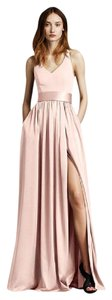 Vera Wang Blush Imported Crepe/Matte/Charmeuse V Neck Halter Gown with Sash Vw360214 Formal Bridesmaid/Mob Dress Size 4 (S)