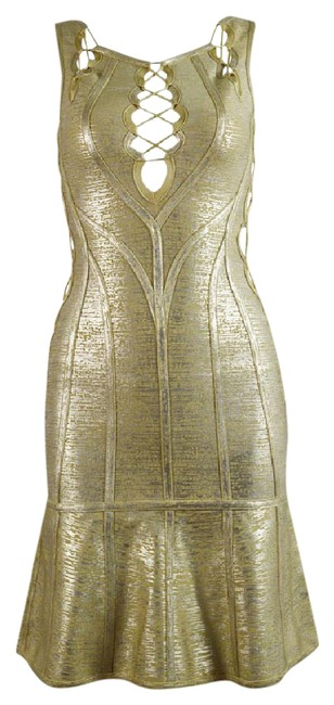 Preload https://img-static.tradesy.com/item/21899229/donna-bella-gold-lace-up-v-neck-bandage-mini-short-cocktail-dress-size-6-s-0-1-650-650.jpg