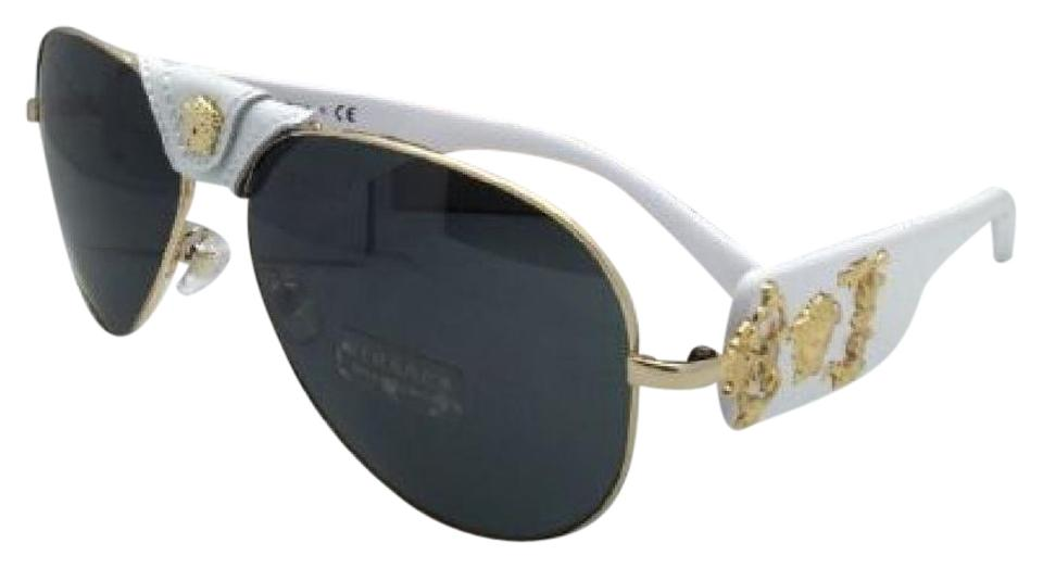 a3ed7462bc Versace New VERSACE Sunglasses VE 2150-Q 1341 87 Gold   White Aviator w ...