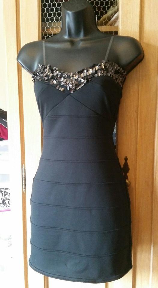 f6aa063e38e Charlotte Russe Black Sequin Bodycon Short Night Out Dress Size 2 ...