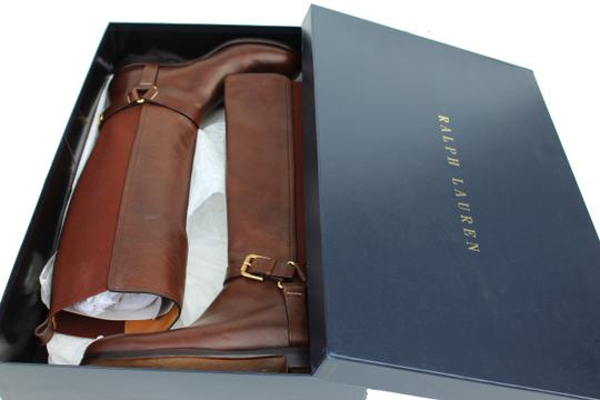 Ralph Lauren Collection Riding Vachetta Leather Tall Brown Boots Image 9