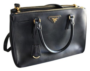 Prada Leather Luxury Gold Tote in Black