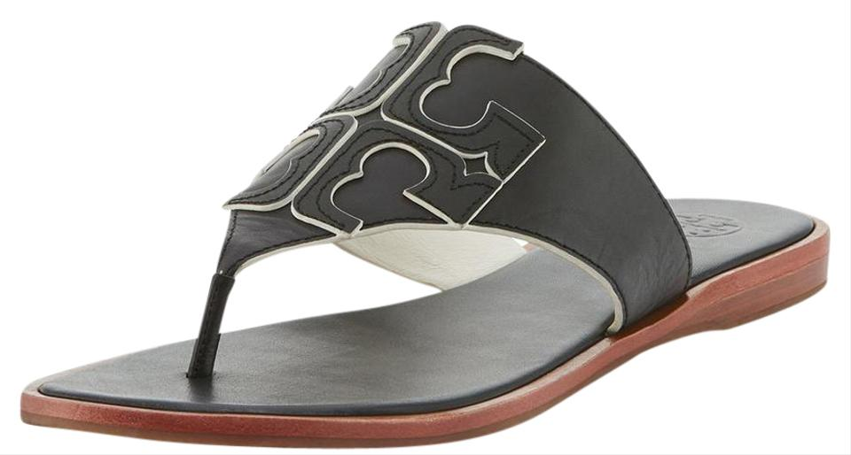 aeafc903328f Tory Burch Black Jamie Full Logo Thong Sandals. Size  US 8 Regular (M ...
