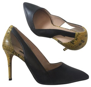 French Connection Black/Yellow Pumps