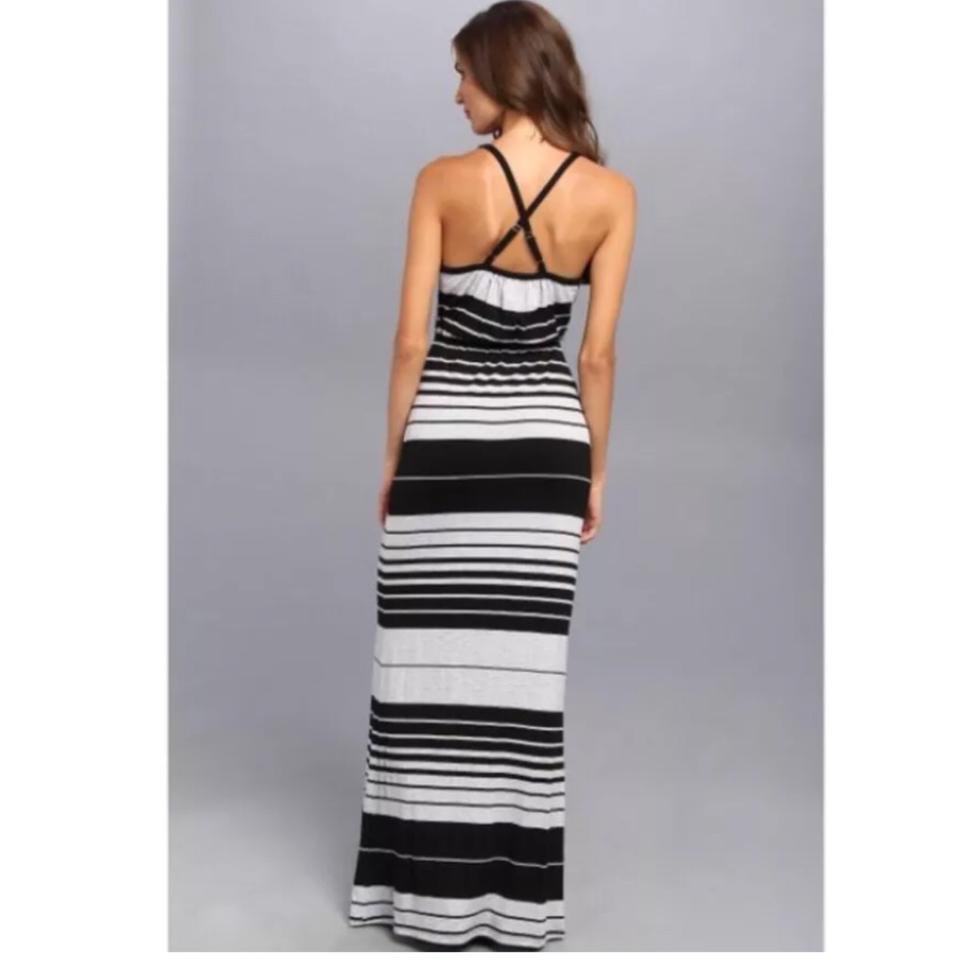 cbd7b9549d2 Michael Stars Black   Gray Delaney Stripe Surplice Long Casual Maxi Dress  Size 8 (M) - Tradesy