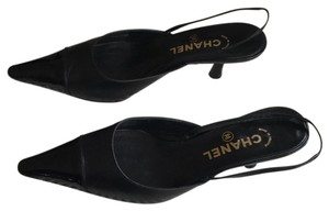 a13f0dbec49 Chanel Classic Slingback Vintage Staple Leather Black Sandals