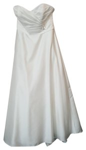 Alfred Angelo Ivory Satin 2381 Modern Wedding Dress Size 10 (M)