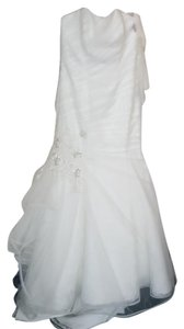 Alfred Angelo Ivory Net Over Lace 2433 Modern Wedding Dress Size 12 (L)