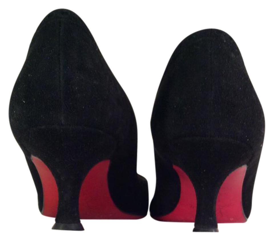 d2db4ff990f Christian Louboutin Red Bottoms Kitten Heels Suede black Pumps Image 0 ...