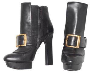 Alexander Mcqueen Ankle Platform Leather Kitten Heel Black Boots