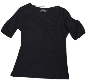 Zara Scoop Neck Sleeve Top Black