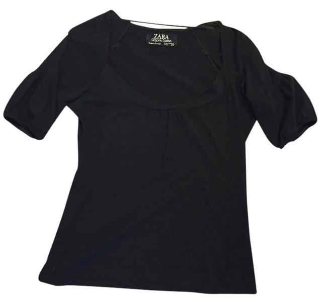 Zara Scoop Neck Puffed Sleeve Top Black