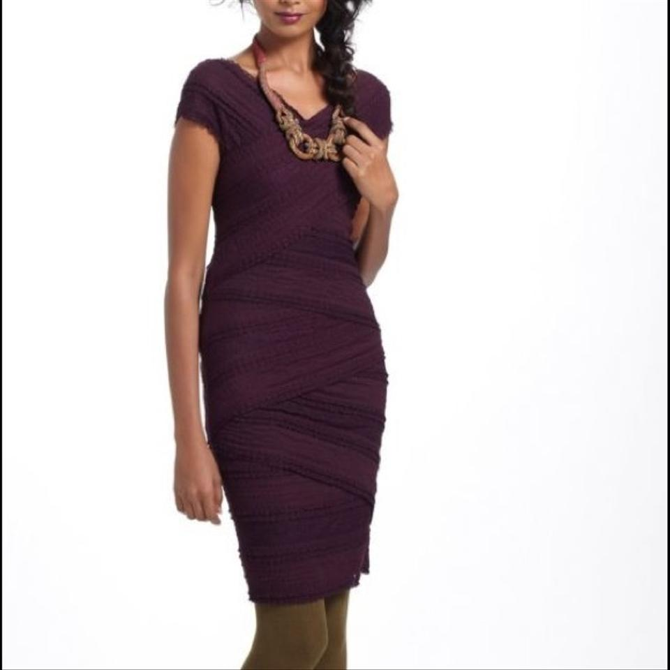 Anthropologie Plum Bailey 44 Tiered Lace Mid Length Cocktail Dress Size 8 M 62 Off Retail