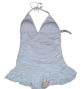 53a23fc5dc9f4 Juicy Couture Off White Shirred Halter Swimdress Swimsuit M One-piece Bathing  Suit