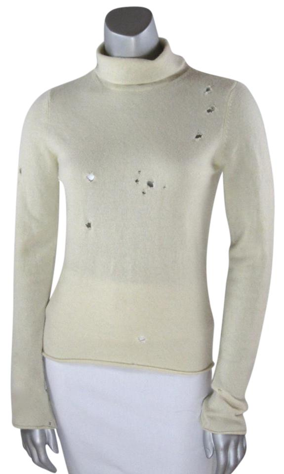970bd50fe8 Vince White Cashmere Heavily Distressed Turtleneck Cream Sweater ...