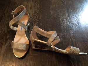 Jimmy Choo Gold Chiara Glittered Crisscross Wedge Sandals Size US 8.5 Regular (M, B)