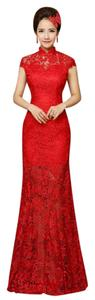 Floor Length Red Lace Cheongsam Qipao Chinese Bridal Wedding Dress Wedding Dress