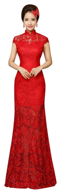 Item - Red Lace Floor Length Cheongsam Qipao Chinese Bridal Formal Wedding Dress Size 4 (S)